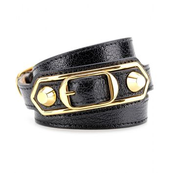 balenciaga - metallic edge leather wrap bracelet