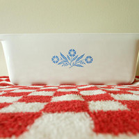 Vintage CorningWare Cornflower Blue 2 Quart Loaf Pan, Blue Cornflower Loaf Pan, P-315-B