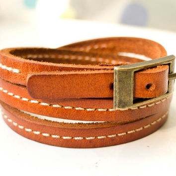 3 Circles Classic and Chic Orange Leather Wrap by ACuteCute