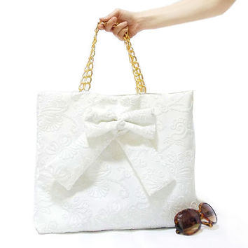 Handmade Purse, On Sale, Handmade bag, Tote, White, Square bag, Cotton purse, Big bag, Bow bag, Pouch, Golden handle, Patterned velvet