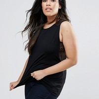 ASOS CURVE Sleeveless Top with Lace Insert at asos.com