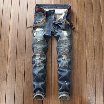Men's Street Style Jeans Blue Color Slim Fit Punk Hip Hop Style Ripped Jeans Cotton Pants Destroyed Biker Jeans Men
