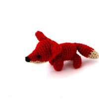 miniature fox, stuffed woodland animal, tiny amigurumi fox, crochet  fox, cuddle cute gift for children,  little animal doll, collectable