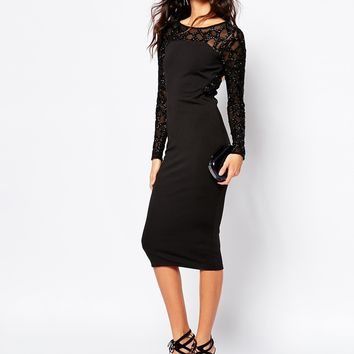 River Island Embellished Sleeve Bodycon Dress