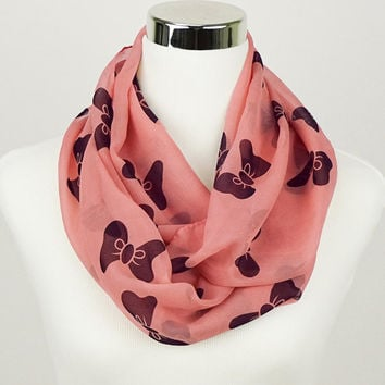 Pink Bow Infinity Scarf Bow Loop Scarf Black Bow infinity scarves Bow scarves Hot Pink scarves infinity Black Bow scarf Girly Kawaii Scarf