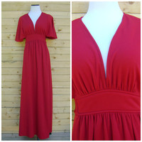 60s Red Maxi Dress Vintage Floor Length Flowy Short Sleeves Size S/M Small Medium Hippie Festival Dresses 1960s Bohemain Deep Neck Hippy