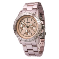 Fossil CH2707 Women's Stella Peach Tone Aluminum Chronograph Quartz Watch