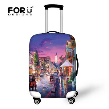 FORUDESIGNS Accessories Travel On Road Luggage Cover Eiffel Tower Painting Protective Suitcase Cover 30 inch Trunk Case Covers