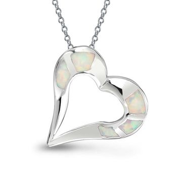 Love Heart White Created Opal Pendant Necklace Sterling Silver