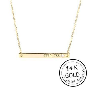 Fearless Plate Necklace - 14k Gold