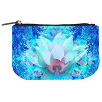 Blue Sky Lotus ZIP bag Fractal Art - Free ship US-psychedelic Zen club artist