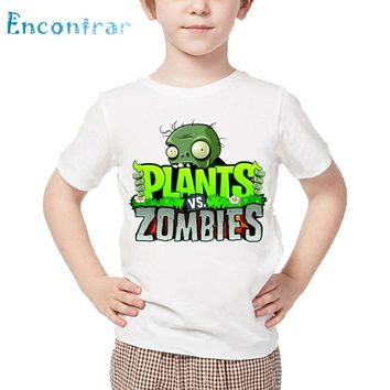 Kids Plants Vs Zombies Print T shirt Children Summer White Tops Boys and Girls Cartoon Funny T-shirt,HKP2404
