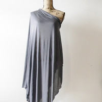 Grey Summer Poncho/ Cover up/ Light Poncho/ Oversized Poncho/ Large Shawl/ Summer Shawl/ Edgy/ Off the shoulder/ One Shoulder Top