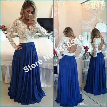 White Lace Royal Blue Chiffon A line Prom Dress 2017 Long Sleeve Evening Gowns vestidos de festa Sexy V Neck Formal Dress