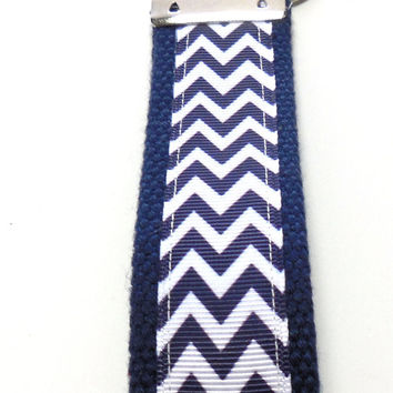 Navy Blue Chevron Wristlet Key Holder Key Fob Key Ring