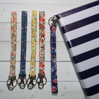 Floral Key FOB, KeyChain, Wristlet, Camera strap, purse handbag strap, Wallet Strap, carrying case, makeup case strap