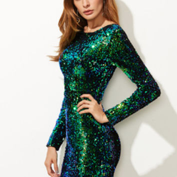 Iridescent Long Sleeve Sequin Bodycon Dress GREEN | MakeMeChic.COM