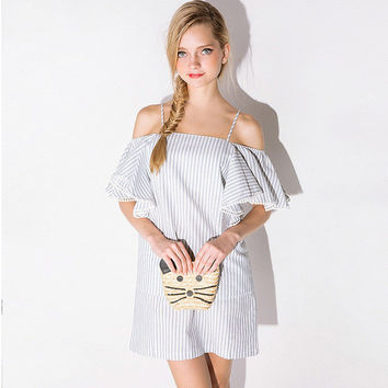 Off Shoulder Flounced Sleeves Striped Shift Dress
