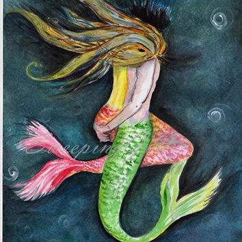 Mermaid kisses lovers painting Decor wall art Siren Decal illustration abstract wedding gift tail poster couple bedroom annivasary gift love