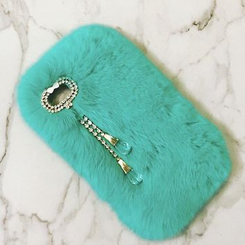 Mint Green Furry iPhone Case