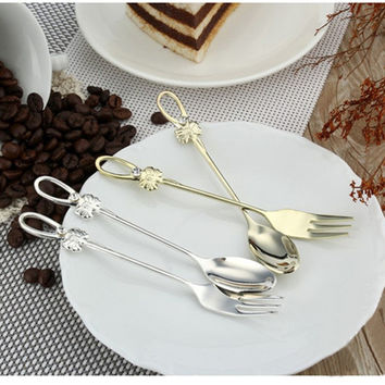 On Sale Cute Easy Tools Home Hot Sale Stylish Kitchen Helper Hot Deal Korean Creative Diamonds Butterfly Stainless Steel Tableware Children Spoon [6283275782]