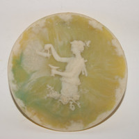 Vintage Small INCOLAY STONE Decorative Cameo Stone Plate Or Saucer Greek Goddess Carving Green And White With Paper Label 1960s