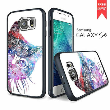 sale retailer 74e44 1f7fd Aztec Cat In Rainbow Color Samsung Galaxy S6 Case