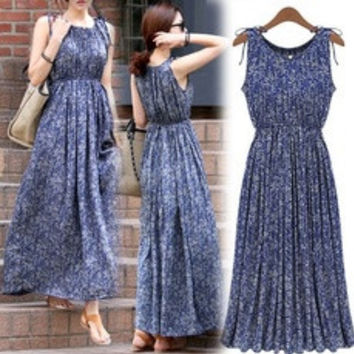 New Women Fashion Sleeveless Long Dress Summer Maxi Print Evening Party Casual Maxi Skirt SMLXL-XXL  [7670392966]