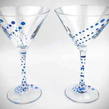 2 Blue painted martini glasses, hand painted martini glass, blue Martini glasses, unique martini glass, painted martini glass, martini gift