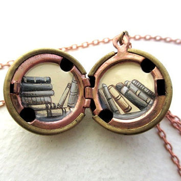Love to Read Locket - Tiny Books Inside a Vintage Locket - Hand-painted - Gift for Reader and Book Lover