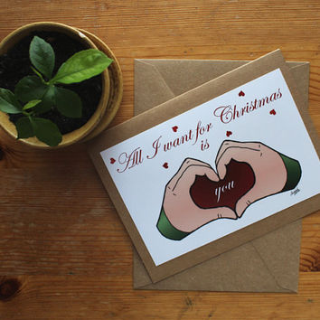 Christmas card-Holiday card-blank-greeting-note-All I want for Christmas-heart-love-Christmas wedding-anniversary-Xmas-husband-wife-jolly
