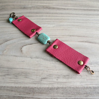 Berry Cuff Bracelet -  Raspberry Leather Bracelet with Turquoise Howlite Bead