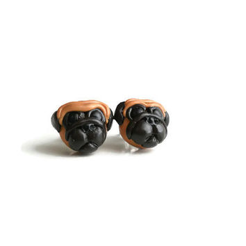 Pug dog one pair of earrings Pouch Type