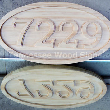 Personalized Oval Address Wood CARVED Sign - Unfinished for your staining or painting  Great for Cabins Home Mailbox Business Camping Gift