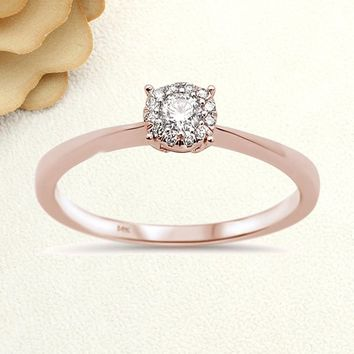 Solid Gold Promise Ring 0.15cts 14k White Gold/Rose Gold Round Diamond Solitaire Ring Engagement Ring