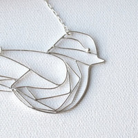 Sterling Silver, Hand Made Bird Necklace, Baby Raven, Modern, Minimalist & Chic Design