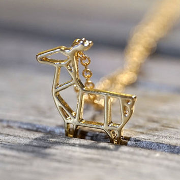 Gold or silver plated nordic woodland animals deer origami pendant with chain, necklace (NE00051)