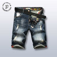 Plus Size Denim Shorts Pants Ripped Holes Fashion Jeans [1589006860381]