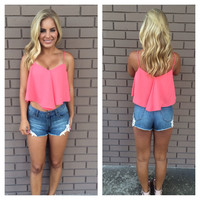 Dark Coral Crop Tank Top