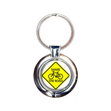 Share The Road Bicycle Basic Yellow Sign Keychain
