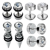 BodyJ4You 8PCS Fake Tapers and Plugs Earring Set Stainless Steel Stud Cheater Faux Gauges