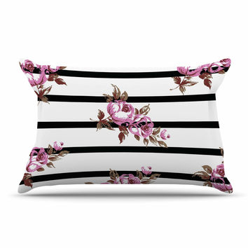 "NL Designs ""Purple Floral Stripes"" Black White Pillow Case"