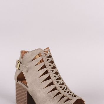 Qupid Cutout Leather Peep Toe Buckled Chunky Heeled Booties