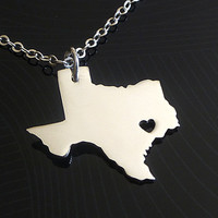 ENGRAVED Texas Necklace - 1mm Thick Sterling Silver Necklace - Texas State Necklace - I Heart Texas - Texas Wedding Date - I love Texas