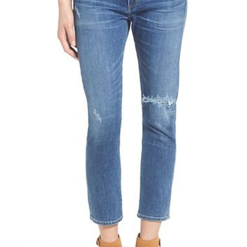 Citizens of Humanity 'Agnes' High Rise Crop Slim Straight Leg Jeans (Distressed Harbor) | Nordstrom