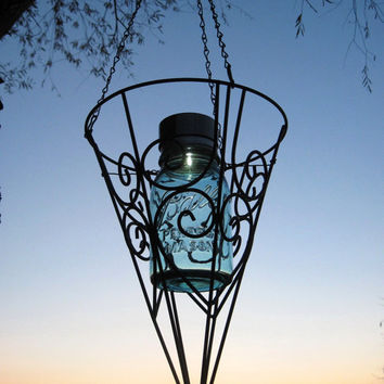 Mason Jar Outdoor Decor Light Solar Mason Jar Lantern in Cone Shape Black Hanging Basket, Upcycled Outdoor Garden Lantern Eco Friendly Light