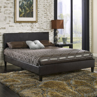 Queen Size Brown Faux Leather Upholstered Platform Bed with Headboard