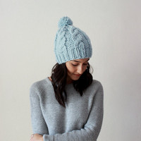 The Norwich - GLACIER // Chunky Cable Knit hat Classic Slouchy Chunky Knit Beanie Hat chunky knit toque cable knit beanie chunky pom pom hat