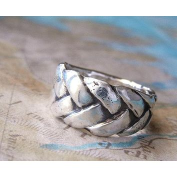 Braided Leather Silver Ring