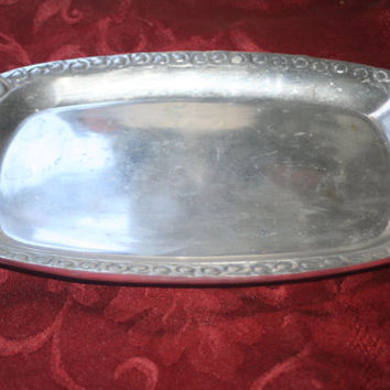 ON SALE Vintage Polished Pewter Tray,Ornate Handled Serving Tray